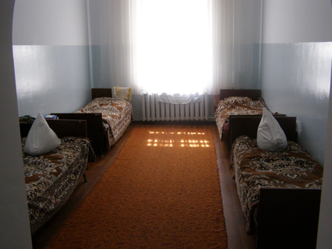 Psychiatric hospital room and beds