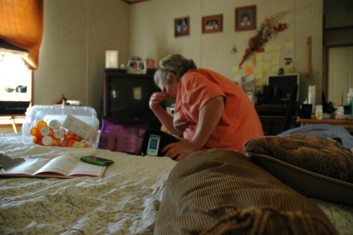 Mississippi FEMA mobile home resident with her medications (Nick Shapiro)