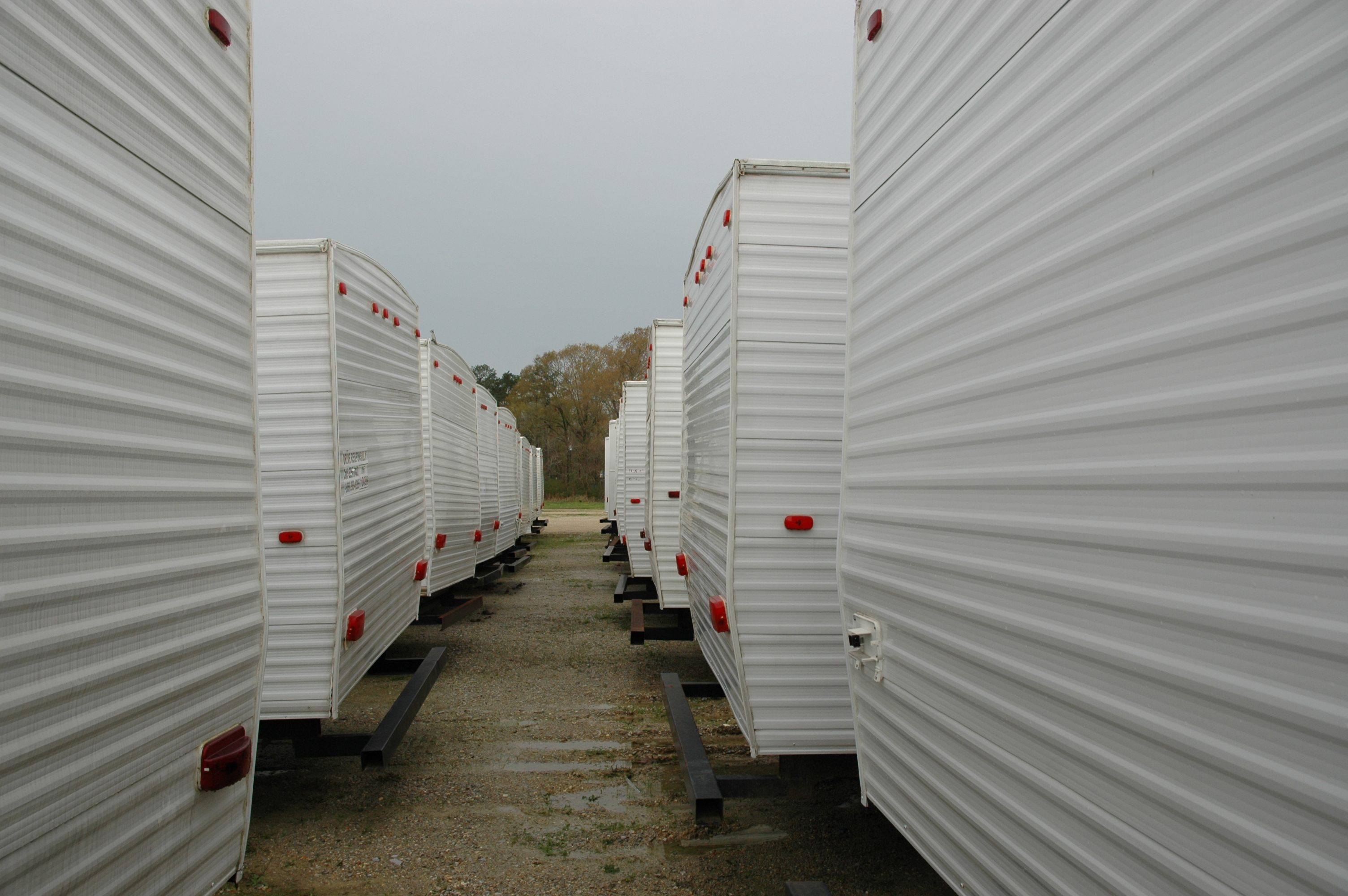 FEMA trailers at an auction in Hammond, Louisiana